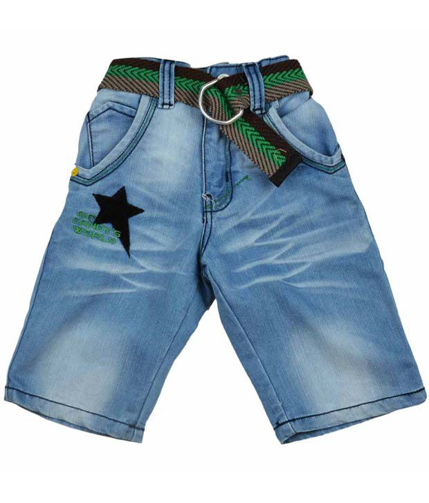 Ruff Light Blue Denim Capri & Belt For Kids
