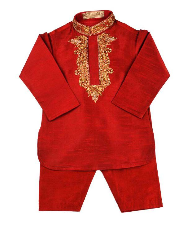 Raja Sahab Red & White Traditional Wear Set For Kids