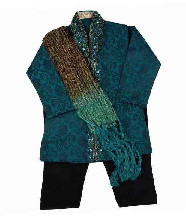 Raja Sahab Blue & Black Kurta Pajama For Kids