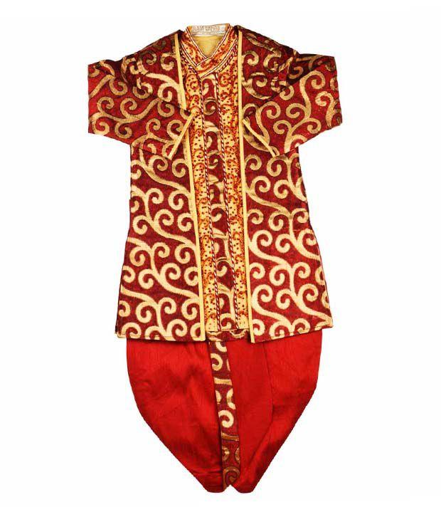 Raja Sahab Red & Golden Traditional Set For Kids