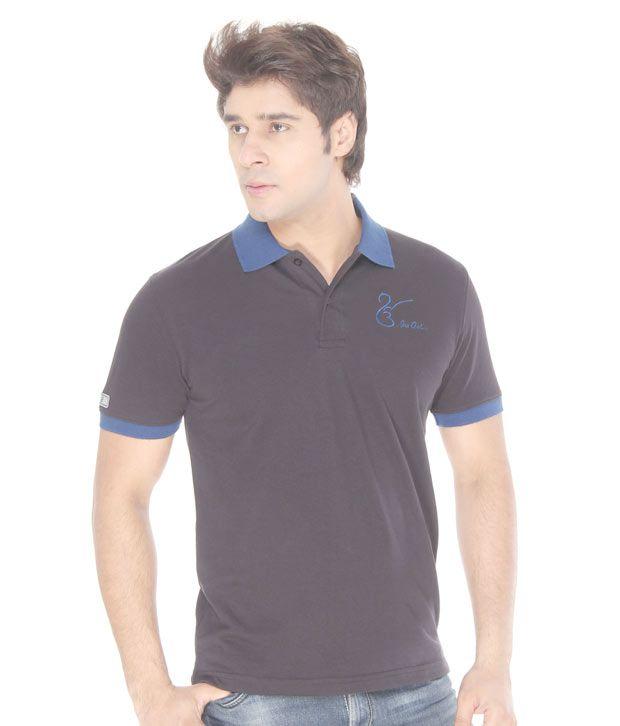 Punjabi Heritage Charcoal Grey-Blue Cotton T-Shirt