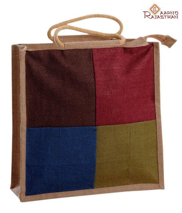 Aapno Rajasthan Multicolour Jute Handbag