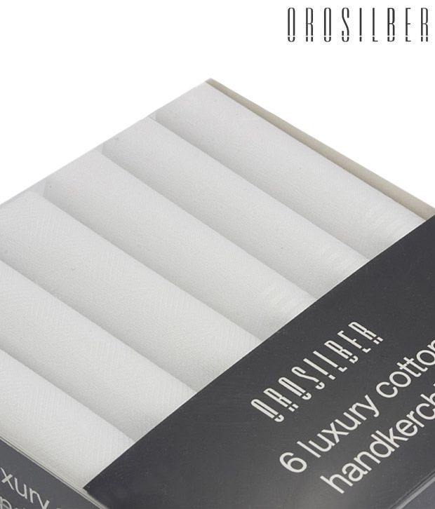 Orosilber Woven White Handkerchiefs - 6 Piece Pack