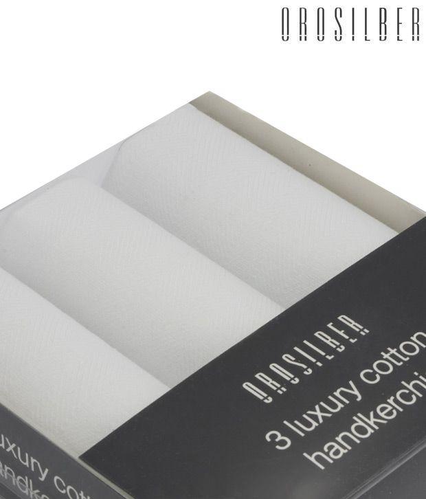 Orosilber Crafted White Luxury Handkerchiefs
