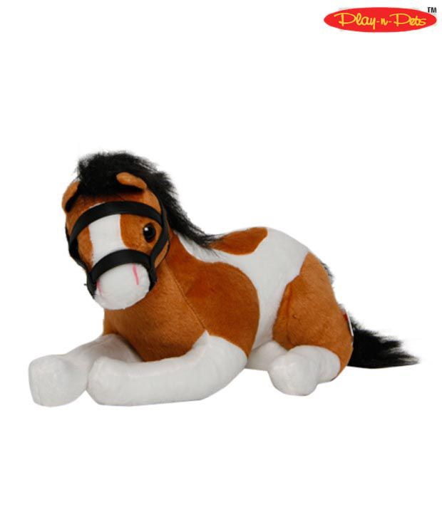 Play-n-Pets Brown & White Sitting Horse Soft Toy