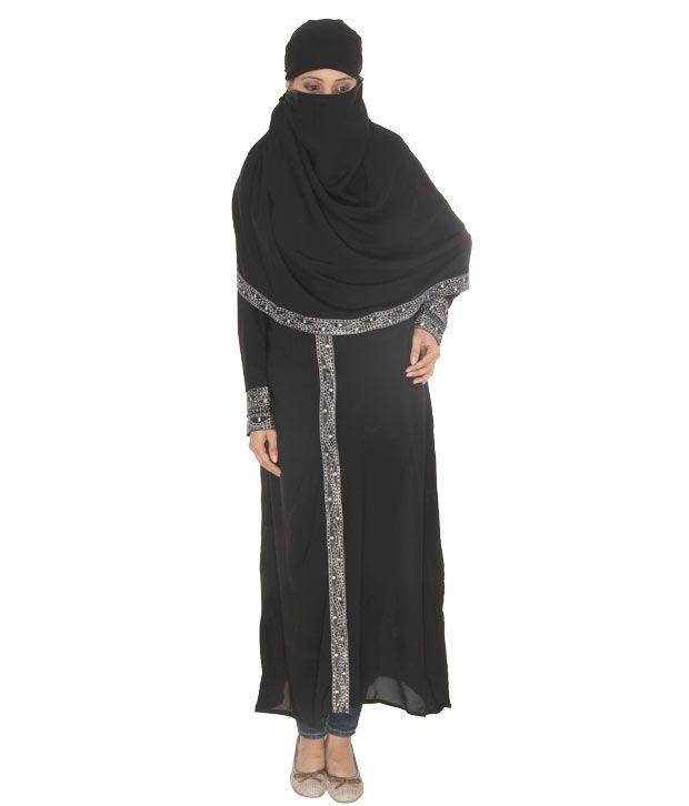 Sabiha Graceful Black Burqa With Hijab