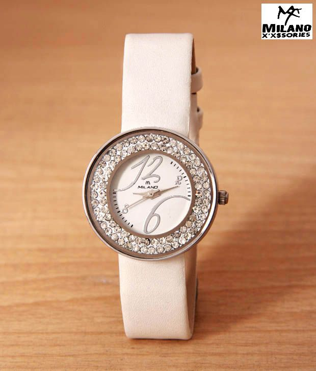Milano White Studded Jewels Watch