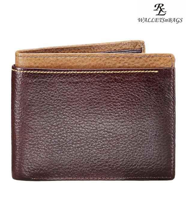 WalletsnBags Alpha Brown & Beige Edge Wallet