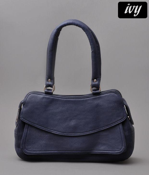 Ivy Elegant Navy Rugged Finish Flap Handbag