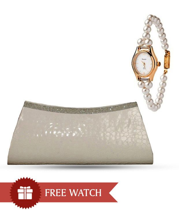 Oleva White Croc Print Shimmery Clutch With Free Women's Watch