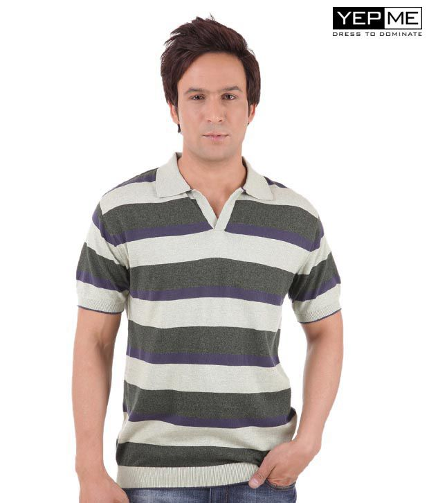 Yepme Ricky Grey Stripes Tee