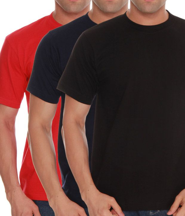 Absolut Zero Black- Red- Blue Pack Of 3 T-Shirts