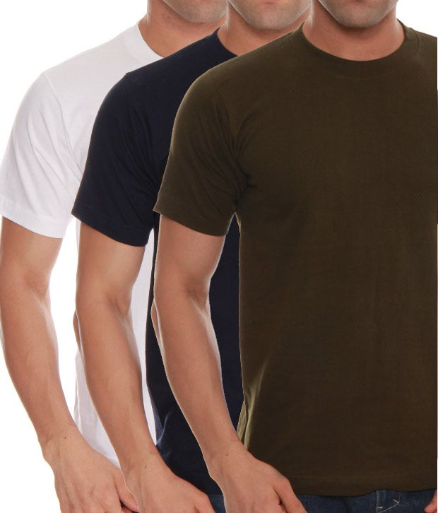 Absolut Zero White- Green- Blue Pack Of 3 T-Shirts