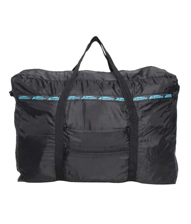 Travel Blue Black Foldable Tote Bag