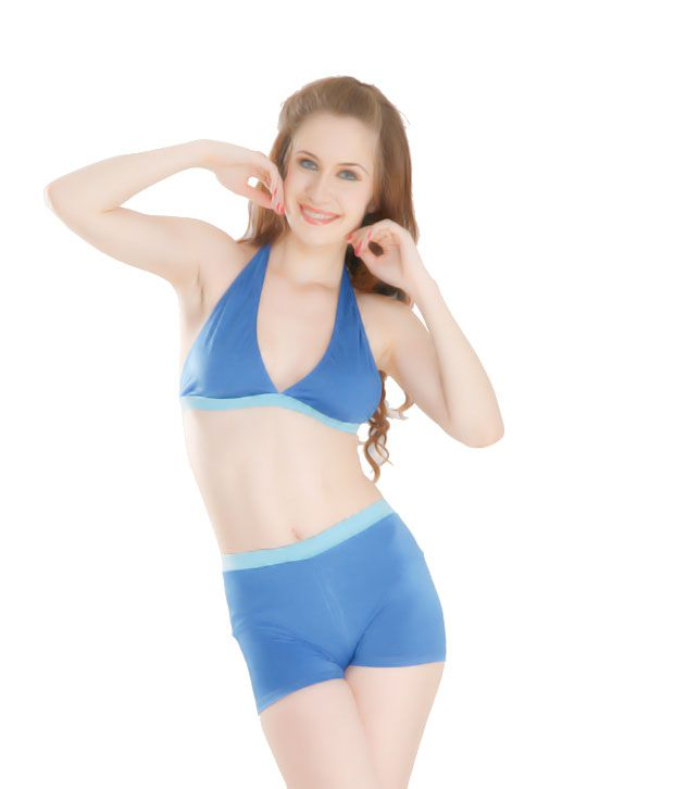 Curves Blue Triangle Halter Belt Top With Shorts