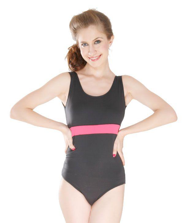 Curves Black & Fuchsia V Shape Swimsuit Contrast Stripe/ Swimming Costume