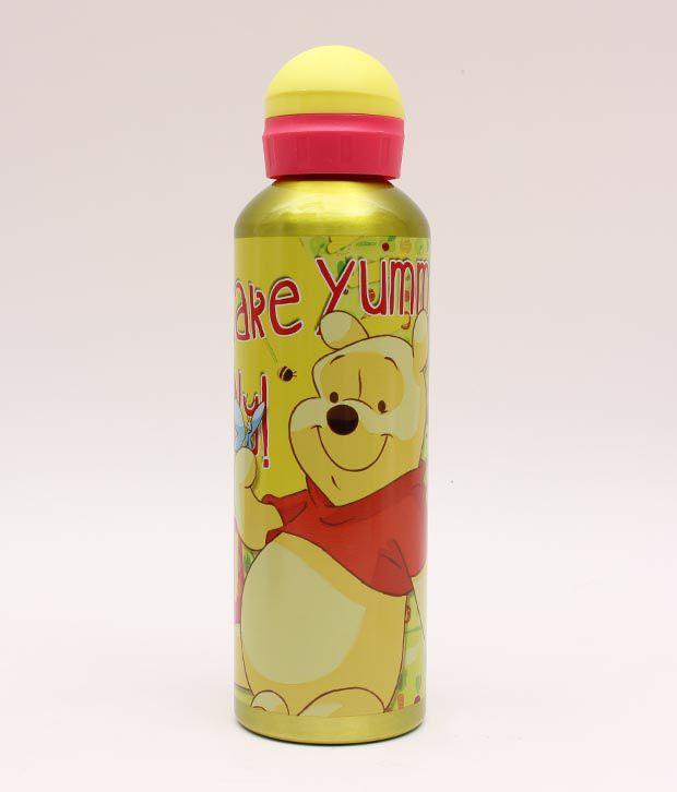 Pooh Metallic Yellow Cute Sipper Bottle