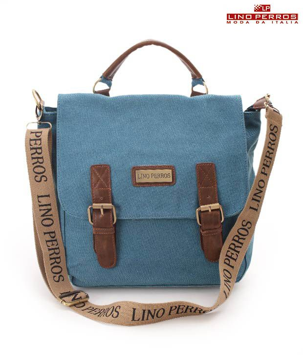 Lino Perros Lovely Blue Double Buckle Sling bag