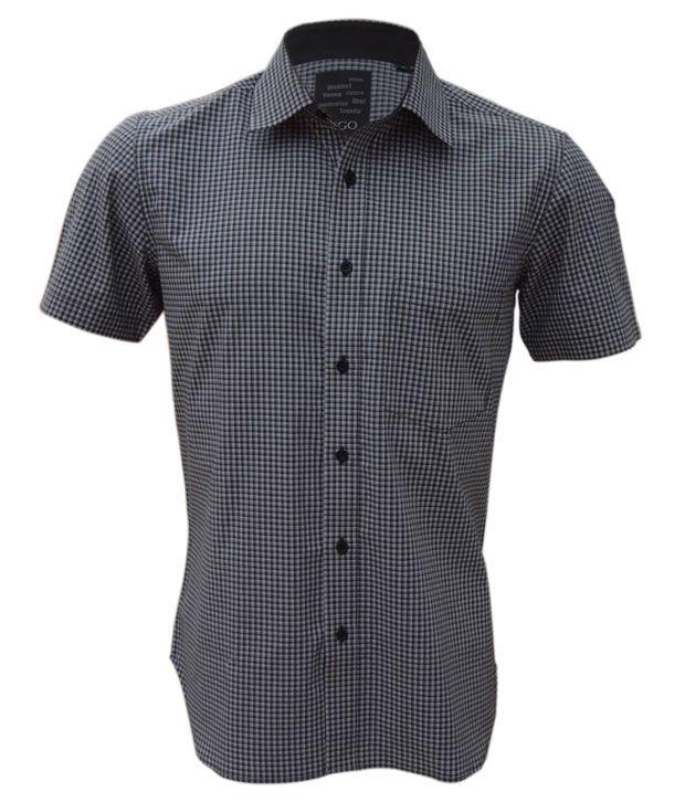Rigo Black-White Formal Check Shirt