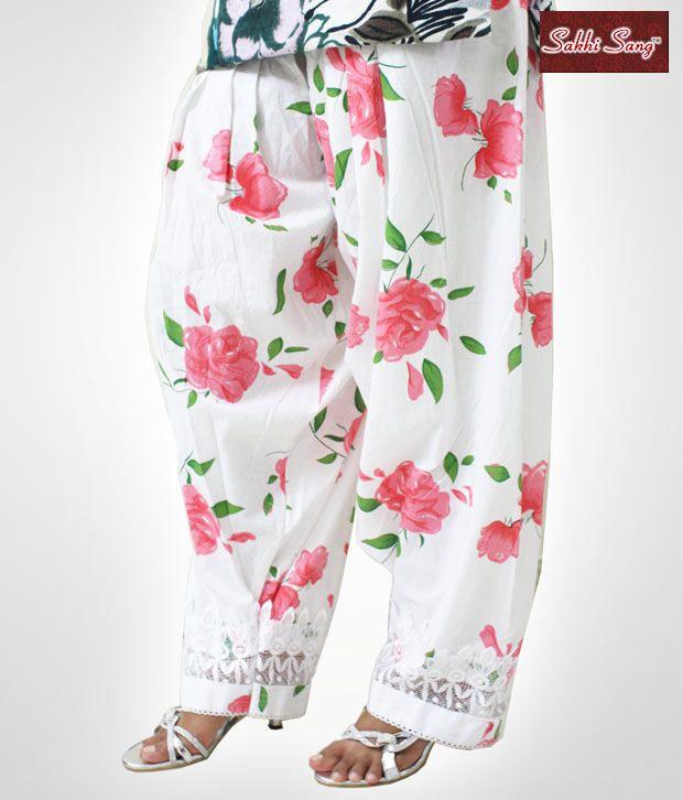 Sakhi Sang Lace Pink Flower Print Patiala