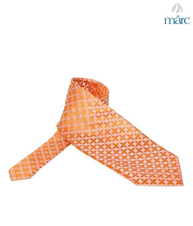 Marc Orange Checkered Silk Necktie