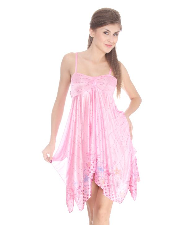 Kate Pink Polka Printed Strappy Nighty