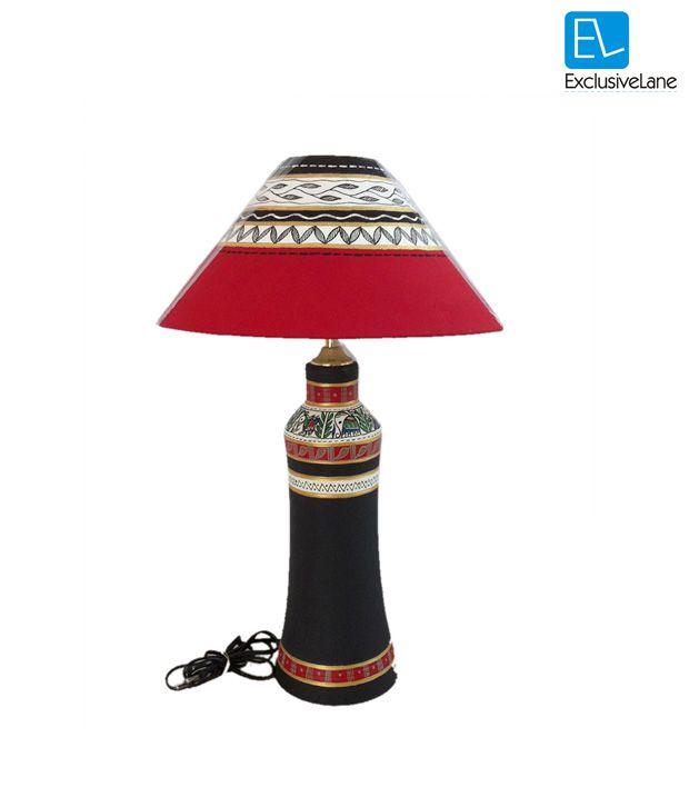 ExclusiveLane Terracotta Madhubani Tapperred Round Lamp Black