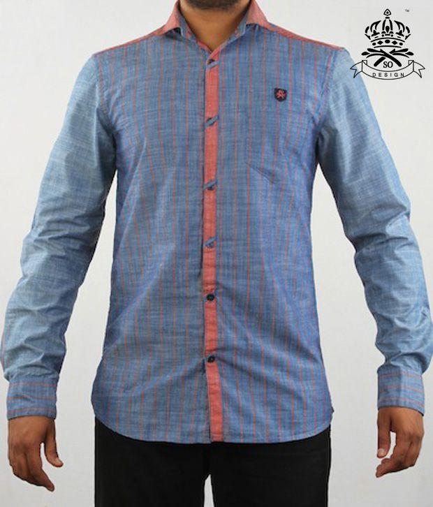 SO Designs Stylish Blue & Orange Shirt