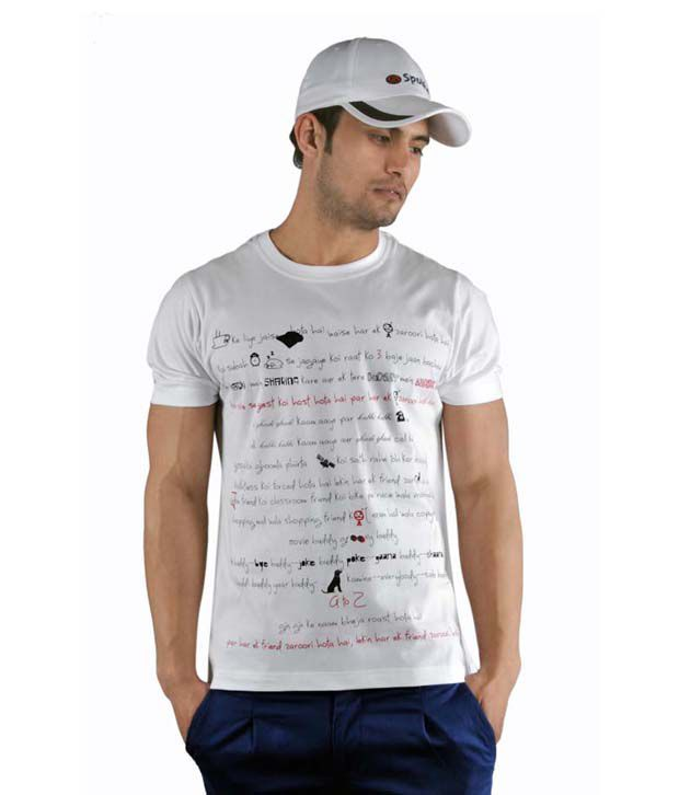 Spolike White T-Shirt with Freebie Cap