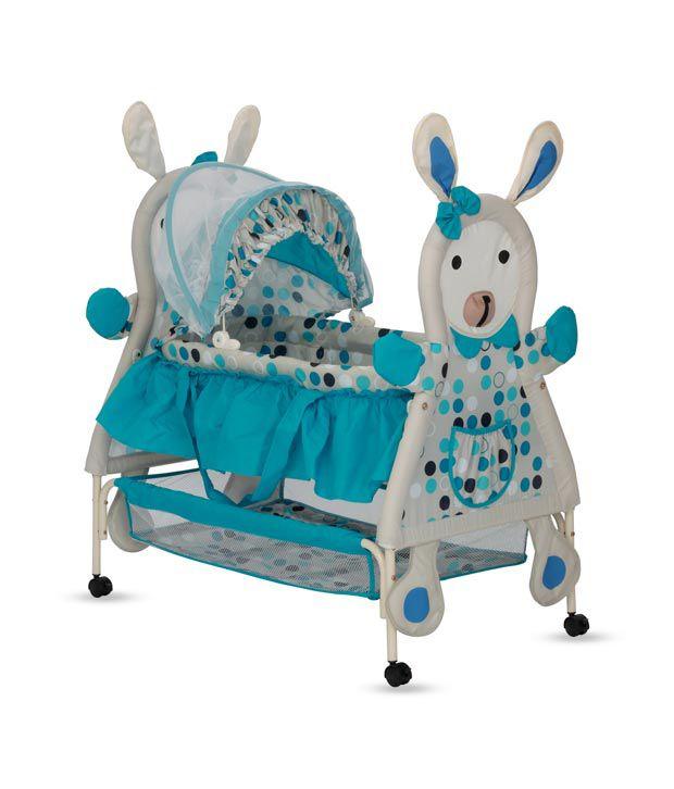Delia Rabbit-Shaped Baby Bassinet-Blue
