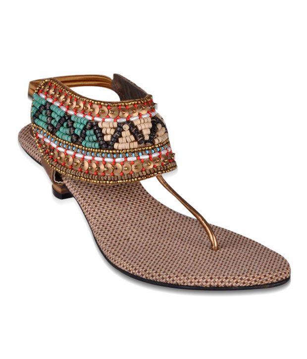 Bonjour Golden & Green Heel Sandals