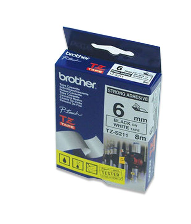 Brother (TZES211) Black on White Strong Adhesive Label for P-Touch Electronic Label Printers