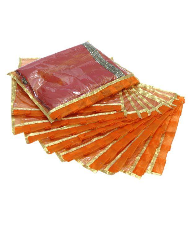 A-maze Set of 10 Orange & Golden Saree Covers