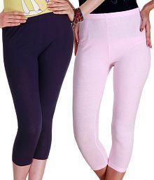 Rham Navy Blue-Baby Pink Cotton-Lycra 3/4th Leggings Pack Of 2