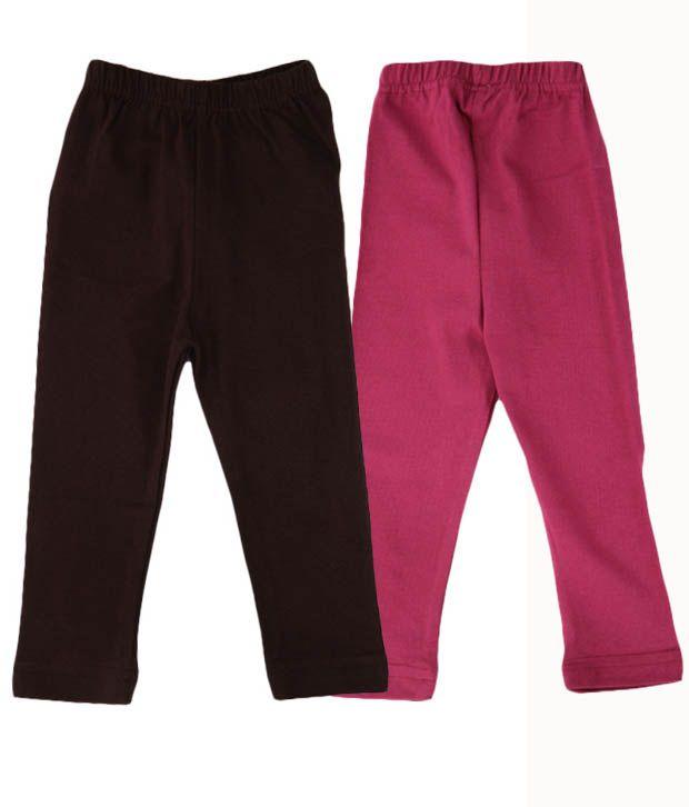 RHAM GOLD Pack of 2 Pink & Brown Color Leggings for Girls For Kids