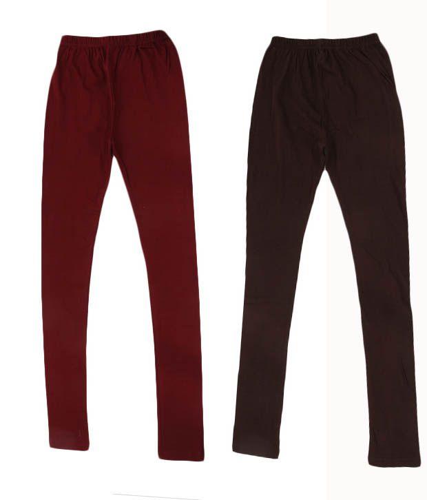 RHAM GOLD Pack of 2 Brown & Maroon Color Leggings for Girls For Kids