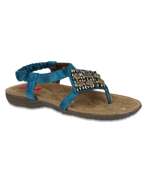 Aria Ethnic Teal Blue Flat Sandals