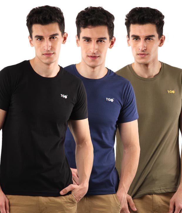 T-Go Black-Blue-Olive Pack of 3 T-Shirts