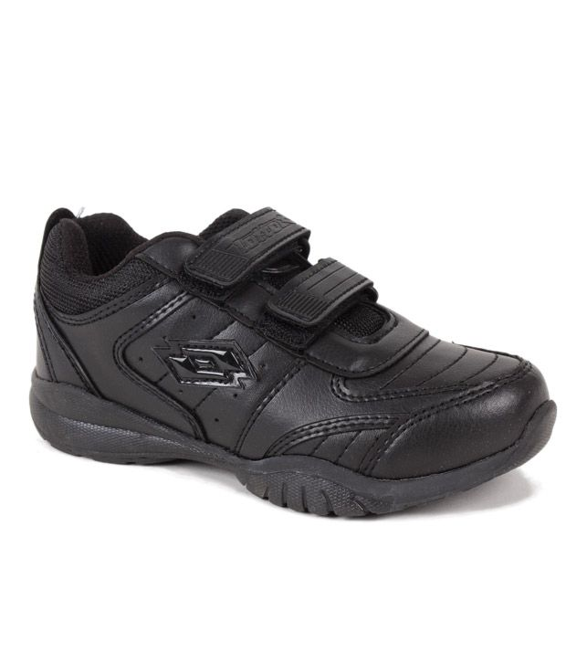 Lotto Black Velcro School Shoes For Kids