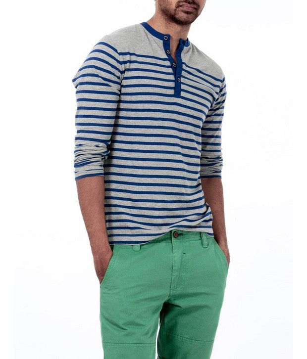 Basics 029 Blue Striped T-Shirts
