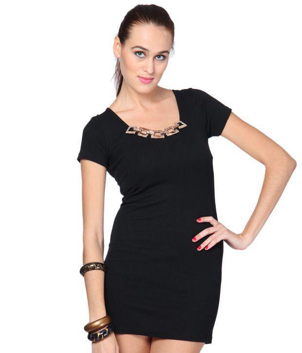 1 to 1 Black Cotton Embellished Neckline Dress