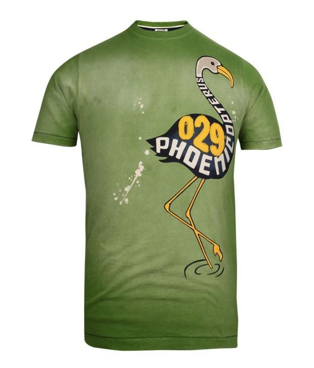 Basics 029 Green Printed T-Shirts