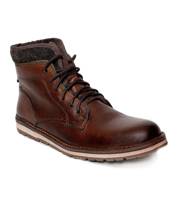 I-Shoes Rugged Dark Brown High Ankle Length Boots