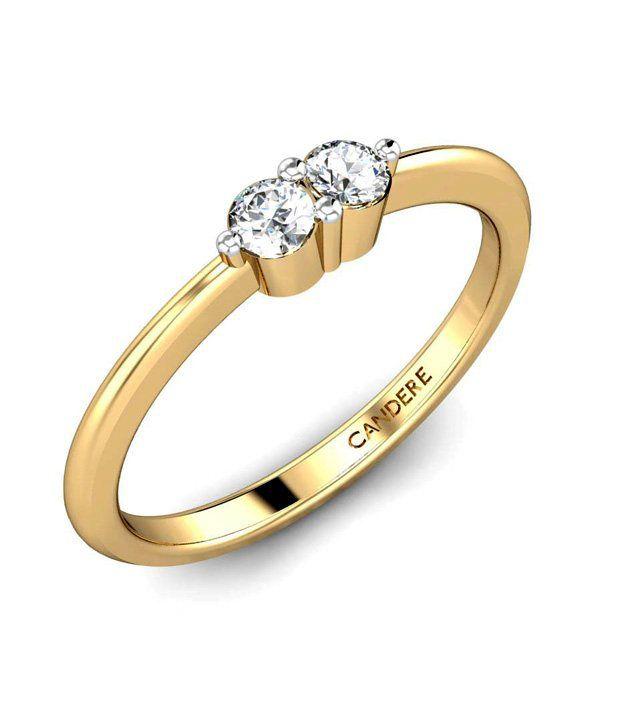 Candere Gold & Diamond Solitaire Accent Diamond Ring