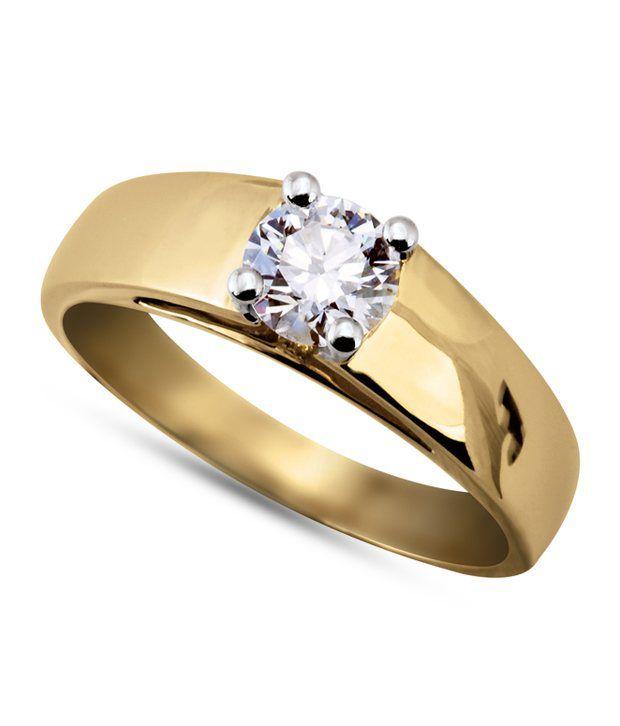 Kiara Gold Plated American Diamond Solitaire Ring: Buy ...