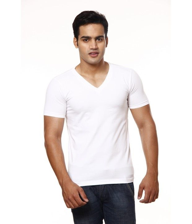 Casual Tees White V-Neck T-Shirt