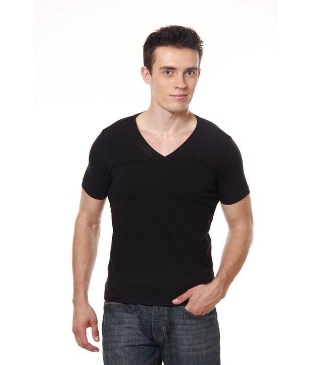 43ca49cf5325 Casual Tees Black V-Neck T-Shirt - Buy Casual Tees Black V-Neck T-Shirt  Online at Low Price - Snapdeal.com