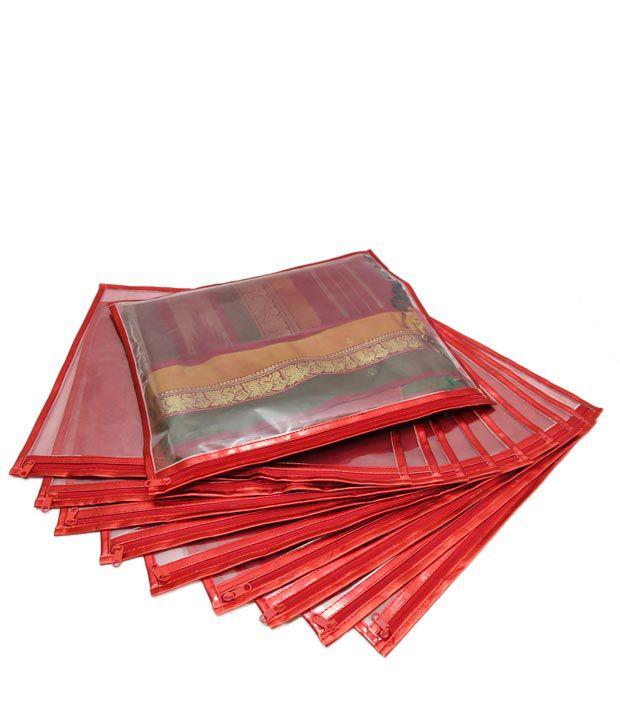 A-Maze Cherry Red Saree Covers - 10 Pcs