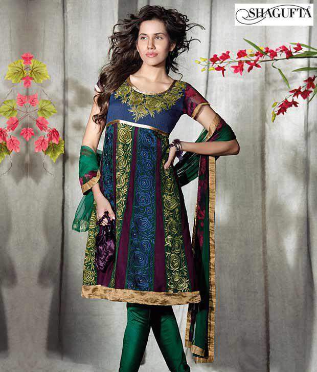 Shagufta Chanderi Banarasi Silk Suit-B-502