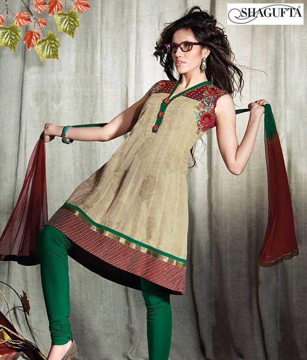 Shagufta Chanderi Banarasi Silk Suit-B-528